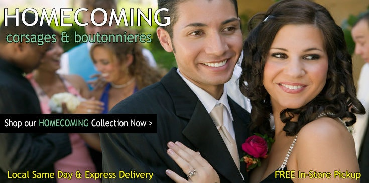Purchase beautiful Homecoming corsages, boutonnieres and flowers at Pugh's Flowers.