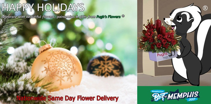Shop Pugh's Flowers for beautiful Christmas Gifts, Flowers, Poinsettias and Holiday Table Centerpieces
