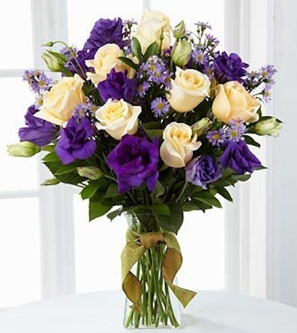 Royal hues of memphis white cream roses purple lisianthus monte casino asters izmirmasajfo