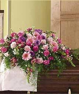 Sympathy Casket Lid Cover in Shades of Pink