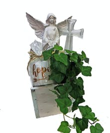 Candle, Angel, Cross and Ivy