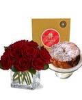 Contemporary Roses & Pound Cake Package