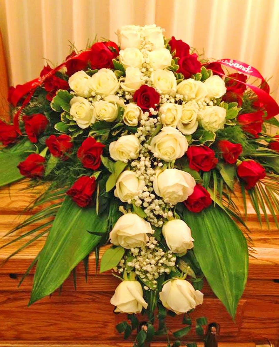 Elegant Cross Cover Casket Blanket Pughs Flowers Local Florist