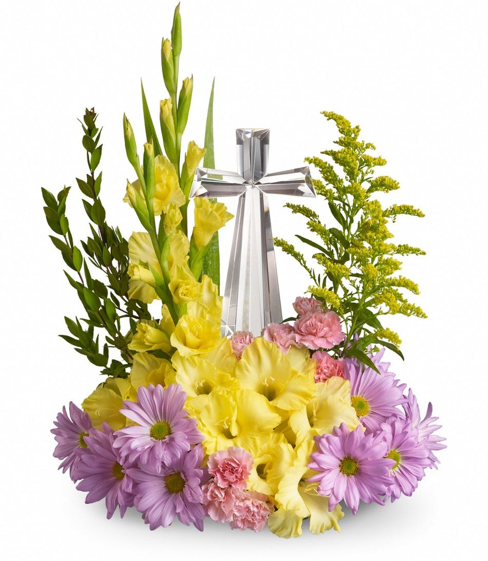 Crystal Cross Bouquet With Keepsake Pughs Flowers Local Florist
