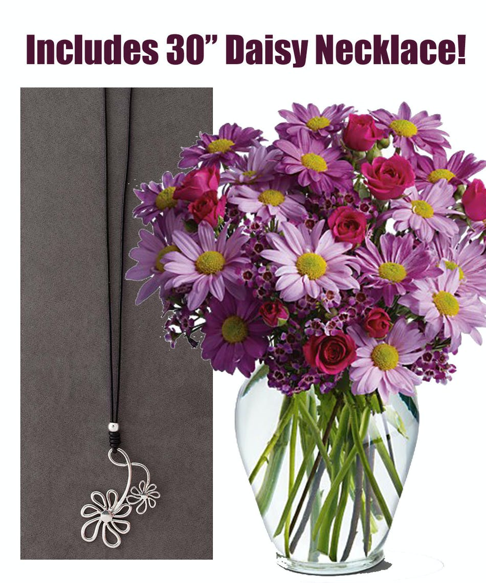 Daisy Duo Bouquet Plus Necklace Pughs Flowers Local Florist