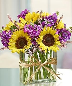 includes sunflowers and stock