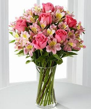 Pink Roses with Alstromeria