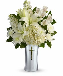 White Lilies, Alstremetia and Stock