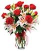 One Dozen Roses Plus Lilies