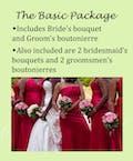 White brides bouquet, red bridesmaids